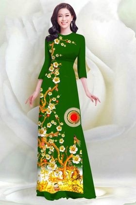 Áo dài in 4D họa tiết hoa mai - MS2052AD