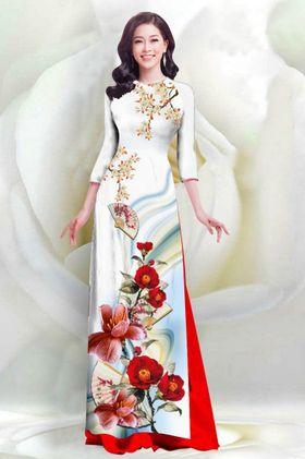 Áo dài in 4D họa tiết hoa Sứ quạt – MS2056AD