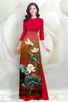 Áo dài in 4D hoa Sen Cò – MS2057AD