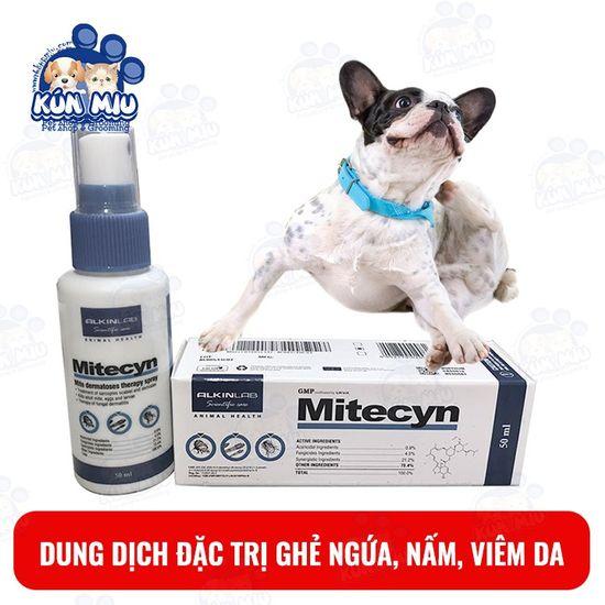 Xịt điều trị ghẻ, ngứa, nấm, viêm da, các bệnh ngoài da cho chó mèo, thú cưng Alkin Mitecyn 50ml