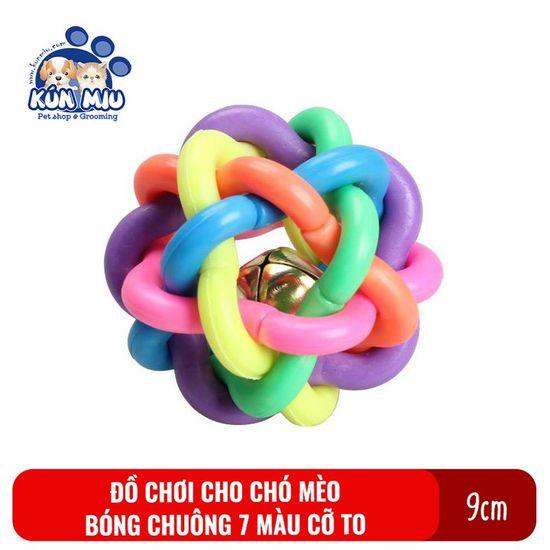 Đồ chơi bóng chuông cao su 7 màu cho chó mèo cỡ to Kún Miu